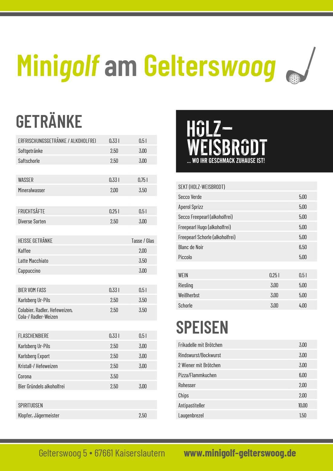 Preisliste Minigolf Gelterswoog